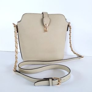 Handbags - Crossbody satchel beige leather, Rose gold